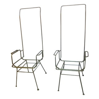 Wrought Iron Mid-Century Modern Chairs - Pair