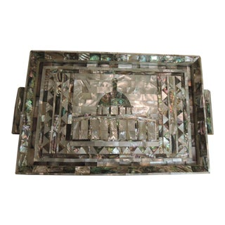 Vintage Persian Mother of Pearl Inlaid Wood Decorative Serving Tray