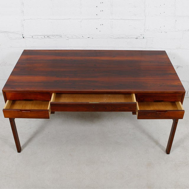 Danish Modern Rosewood Desk by Arne Wahl Iversen - Image 3 of 7