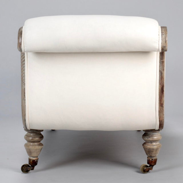 French Chaise Longue with Bleached Wood Frame - Image 7 of 11