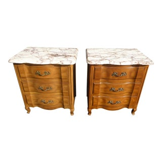 Vintage French Provincial Marble Nightstands by John Widdicomb - A Pair