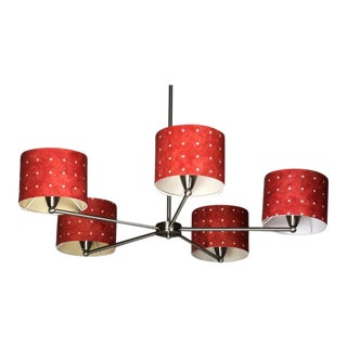 Mid-Century Red Shade Chandelier