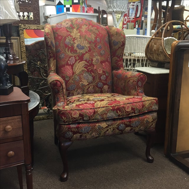 Red Floral Wing Back Chairs - A Pair - Image 2 of 7