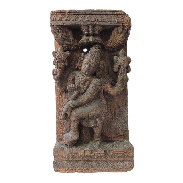 High relief hindu goddess carving chairish