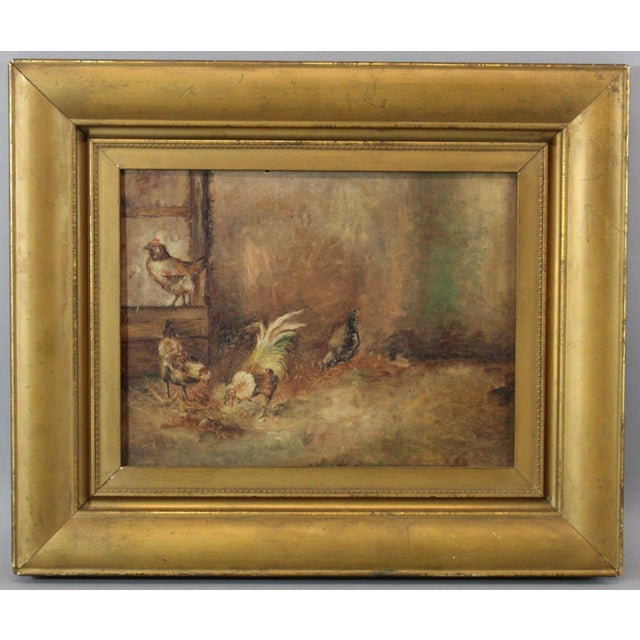 Antique Oil On Board Painting Of Rooster Amp Chickens Chairish