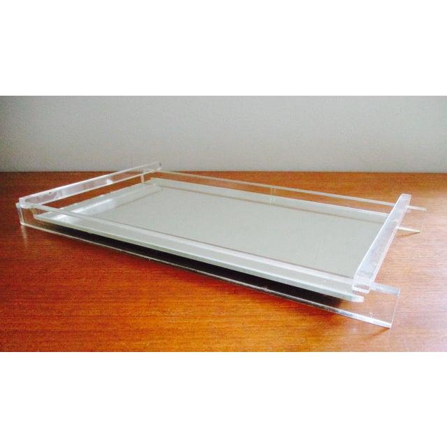 Art deco lucite mirrored vanity tray chairish for Mirrored bathroom tray