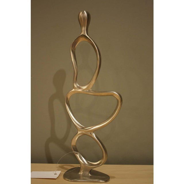 Image of Silver Tone Metal Sculptural Candleholder - A Pair