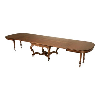 Circa 1890 Ch. Jeanselme Et Cie French Walnut Dining Table With Leaves