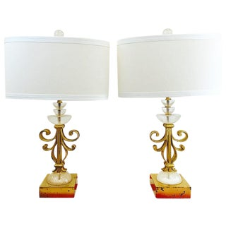Vintage Gold Metal & Stacked Lucite Lamps - A Pair