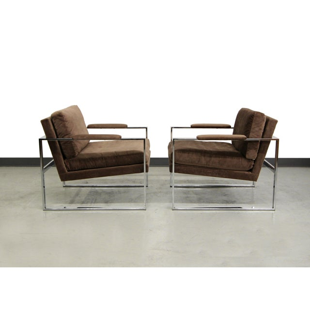 Baughman Chrome Mid Century Lounge Chairs - Pair - Image 3 of 6