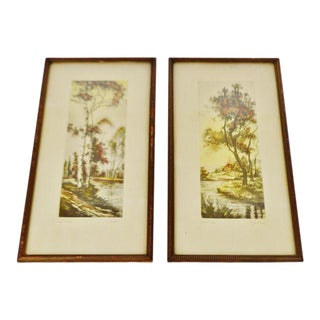 Vintage Oise River & Near Paris French Prints by G. Anibal - A Pair