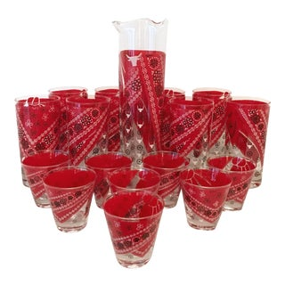 1980's Red Bandana Cocktail Set - 17 Pieces