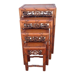 Vintage Chinese Carved Rosewood Nesting Tables - Set of 4