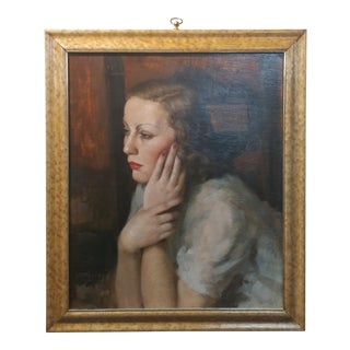 Victorio Gussoni - Woman Contemplating - Beautiful Oil painting -c1940s