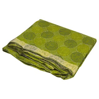 Lime Green Silk Chakra Kantha Throw