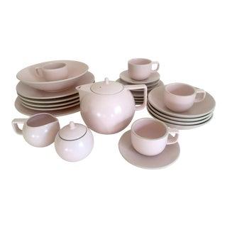 Vintage 1980's Post Modern Sasaki Japan Massimo Vignelli Matte Pink Colorstone Ceramic Dinnerware - 27 Piece Set
