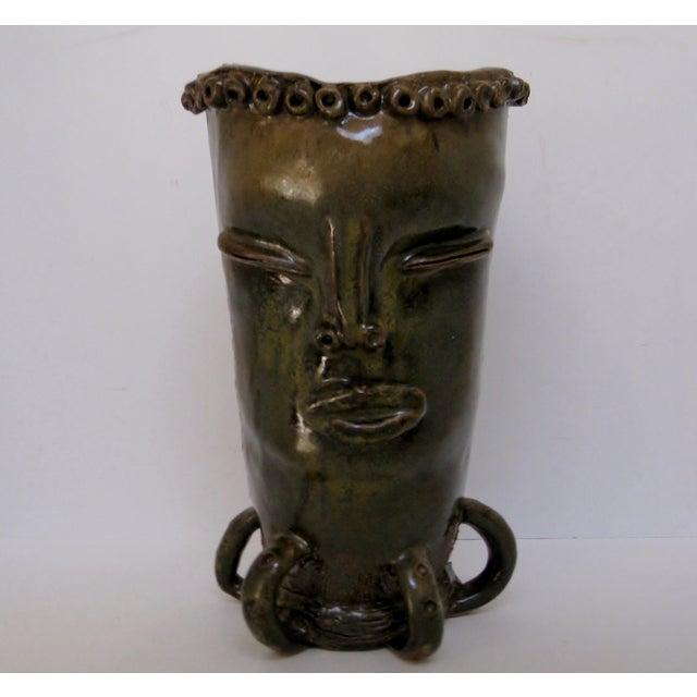Olive & Brown Artisan Ceramic Vase - Image 2 of 8