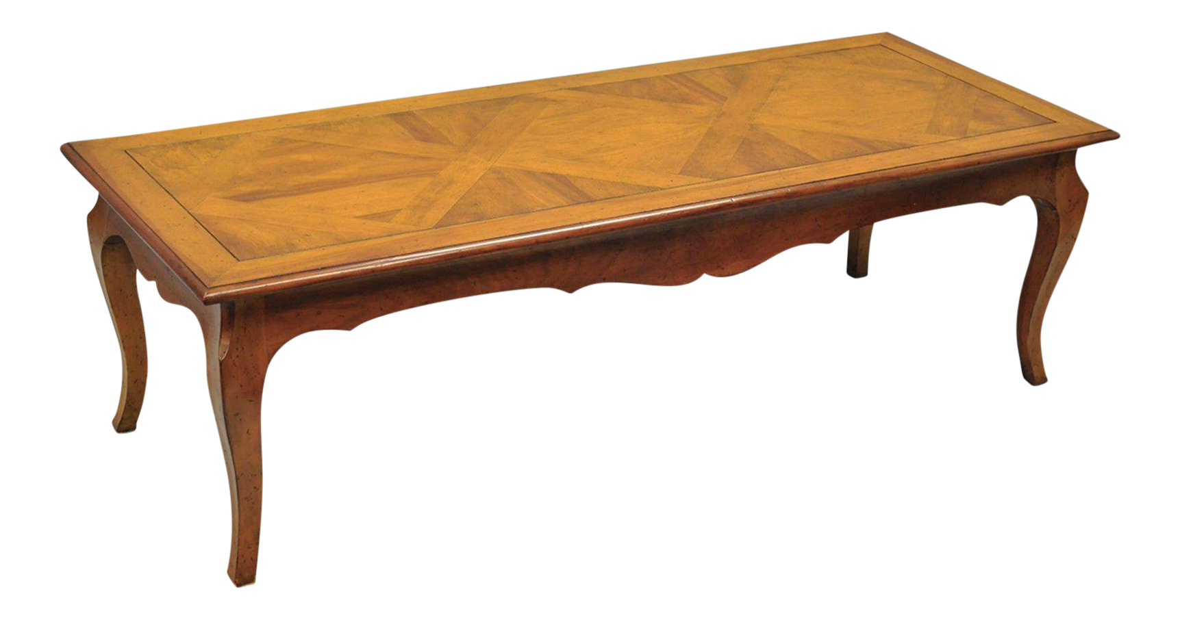 Country French Louis XV Provincial Solid Wood Parquetry Inlay Coffee Table