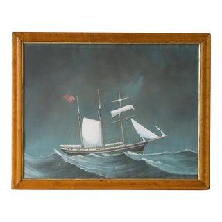 """Asail"", Antique English Ship Painting, Original Frame, circa 1800"