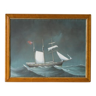 """Asail"", Antique English Ship Painting, Original Frame, circa 1800"