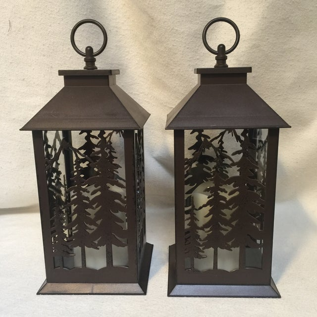 Metal & Glass Forest Silhouette Lanterns - A Pair - Image 4 of 10