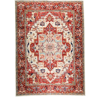 Contemporary Traditional Red Hand-Knotted Rug 9' x 12'