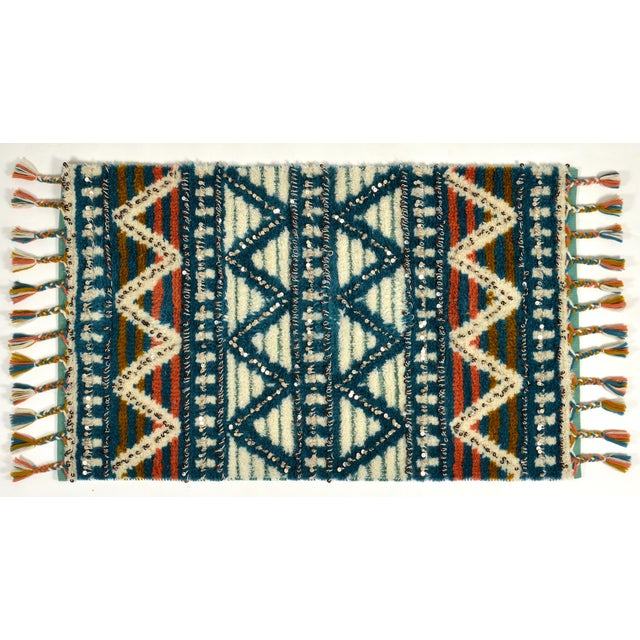Moroccan Style Wool Sequin Tassel Rug/Wall Hanging - 3' x 5' - Image 2 of 6