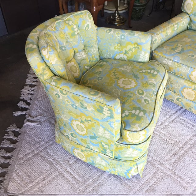 Mid-Century Blue-Green Floral Accent Chair - Image 4 of 8