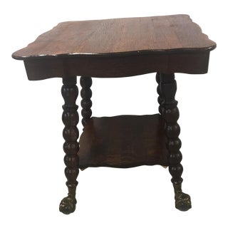 Antique Tiger Oak Glass & Brass Claw Table