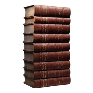 19th C. Leather Bound Books - Set of 9