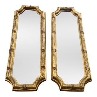 Italian Hollywood Regency Gilded Faux Bamboo Mirrors - Pair
