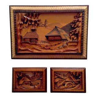 Black Forest Carved Wood Wall Decor - Set of 3