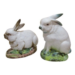 Italian Ceramic Life Size Rabbit Statues - A Pair
