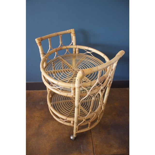 Vintage Round Bamboo & Glass Bar Cart - Image 2 of 8