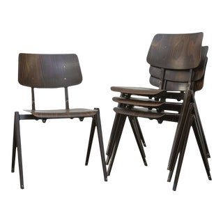 Prouve Style Stacking Industrial School Chairs - Set of 4