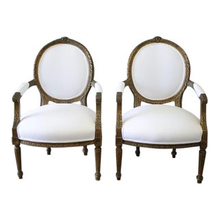 19th Century Giltwood Ribbon Carved Louis XVI Style French Chairs - A Pair