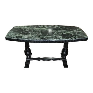 1920s Marble Top Dining Table W/ Ebonized Trestle Base