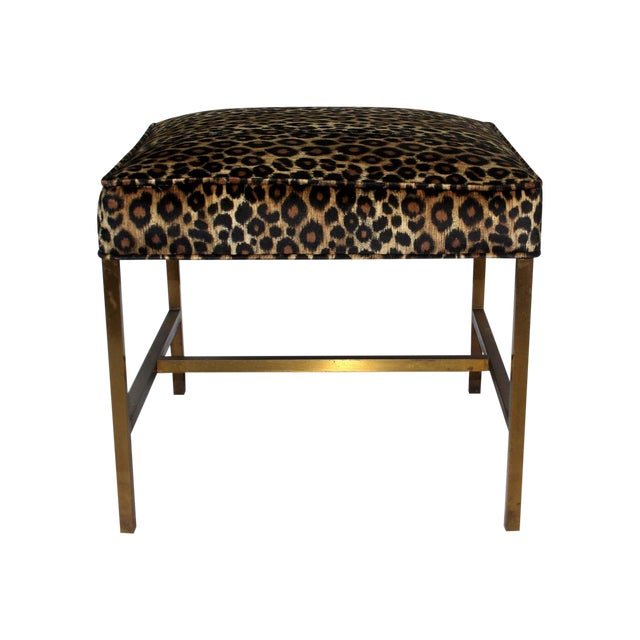 Vintage 1970s Brass Base & Leopard Seat Bench - Image 1 of 4
