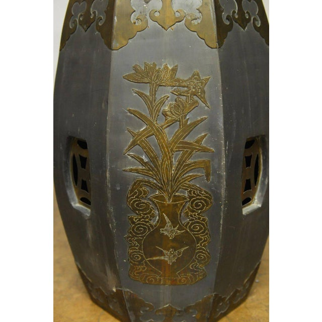 Chinese Pewter And Brass Drum Stools - Pair - Image 5 of 5