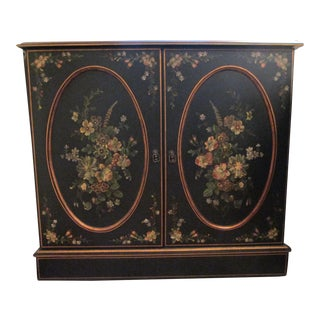 Handpainted Cabinet With Floral Motif & Shelf