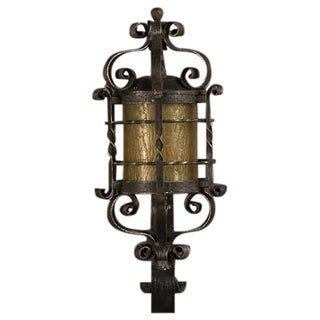 Forged Iron Wall Lantern, Glass Shade, France c. 1940