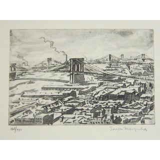 "Joseph Margulies""Bridges."" 1976. Etching and Aquatint"