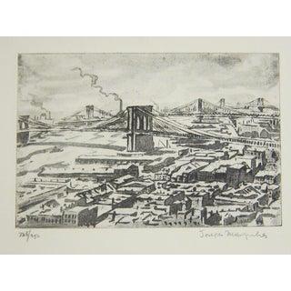 "Joseph Margulies""Bridges."" 1976. Etching and Aquatint"