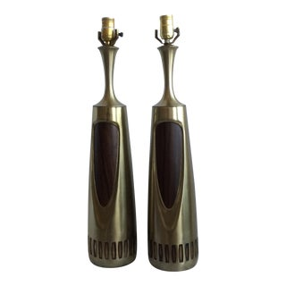 Mid Century Modern Aluminum Lamps - Pair