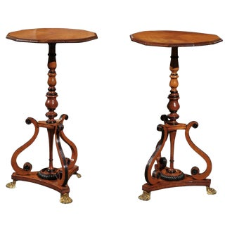 Pair of 1820s English Period Regency Parcel-ebonized Side Tables with Volutes