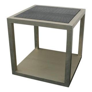 Barclay Butera Metallic Leather-Top Side Table