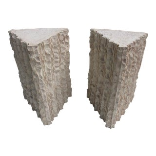 Brutalist Triangular Dining Table Bases/Pedestals - a Pair
