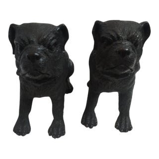 Bronze Bulldogs Sculptures - A Pair