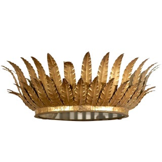 Spanish Gilt Metal Crown Chandelier with Layered Leaves and Frosted Glass Bottom
