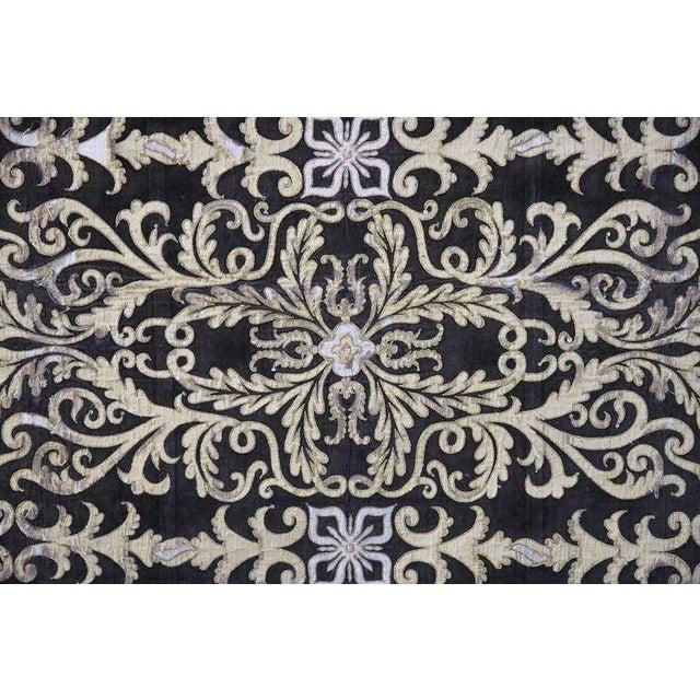 19th Century Metallic Appliqued Velvet With Fringe - Image 5 of 8